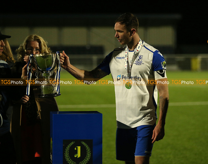 Enfield Town collect the Velocity Cup after AFC Hornchurch vs Enfield Town, Velocity Trophy Final Football at Parkside on 10th April 2019
