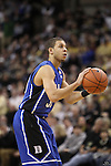 Duke Blue Devils guard Seth Curry (30) shoots a free throw after some heated words exchanges at the Wake end of the court. Duke wins 83-59..