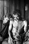 Poor couple, blind elderly woman. Contemporary slavery at charcoal production. City: Ribas do Rio Pardo, State: Mato Grosso do Sul, Brazil.