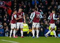 7th March 2020; Turf Moor, Burnley, Lanchashire, England; English Premier League Football, Burnley versus Tottenham Hotspur;  Chris Wood of Burnley celebrates with Ashley Westwood and Jay Rodriguez after scoring his team's first goal to make the score 1-0 after 13 minutes