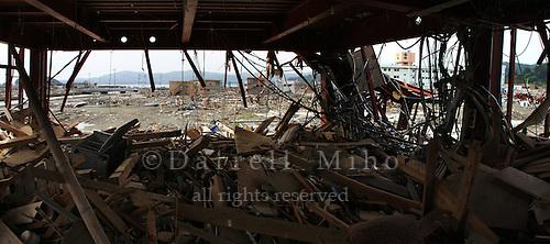 June 12, 2011; Minamisanriku, Miyagi Pref., Japan - Damage to the Crisis Management Department (Bousai Taisaku Chousha) after the March 11, 2011 Great Tohoku Earthquake and Tsunami devastated the Northeast coast of Japan.