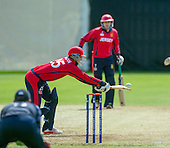 ICC World T20 Qualifier (Warm up match) - Scotland V Jersey at Heriots CC, Edinburgh - unorthodox batting from Jersey No 10 Ben Kynman — credit @ICC/Donald MacLeod - 06.7.15 - 07702 319 738 -clanmacleod@btinternet.com - www.donald-macleod.com