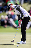 Belen Mozo celebrates a birdie putt on the 9th. McKayson NZ Women's Golf Open, Round Two, Windross Farm Golf Course, Manukau, Auckland, New Zealand, Saturday 30 September 2017.  Photo: Simon Watts/www.bwmedia.co.nz