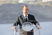 French President, Francoise Hollande ,  attends at press conference  on board of Itally's Navy Garibaldi, at the of Italy - France - Germany summit in Ventotene Island 22 August 2016