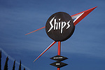 Ship's Coffe Shop sign on Ovelrand Ave. in West Los Angeles, CA
