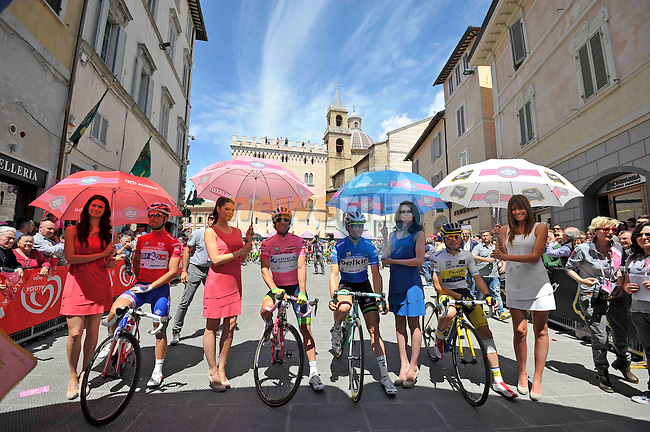The jersey holders line up at the start of Stage 8 of the 2014 Giro d&rsquo;Italia running 179km from Foligno to Montecopiolo, Italy.17th May 2014.<br /> Picture: Fabio Ferrari/LaPresse/www.newsfile.ie