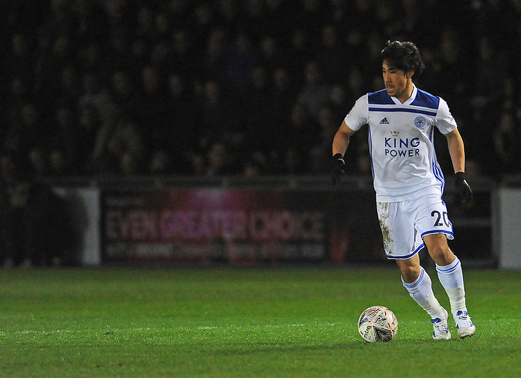 Leicester City's Shinji Okazaki during the game<br /> <br /> Photographer Ian Cook/CameraSport<br /> <br /> The Emirates FA Cup Third Round - Newport County v Leicester City - Sunday 6th January 2019 - Rodney Parade - Newport<br />  <br /> World Copyright &copy; 2019 CameraSport. All rights reserved. 43 Linden Ave. Countesthorpe. Leicester. England. LE8 5PG - Tel: +44 (0) 116 277 4147 - admin@camerasport.com - www.camerasport.com