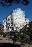 24 AUG 2009 - BERLIN, GER - A mural decorates the end of a house in Berlin (PHOTO (C) NIGEL FARROW)