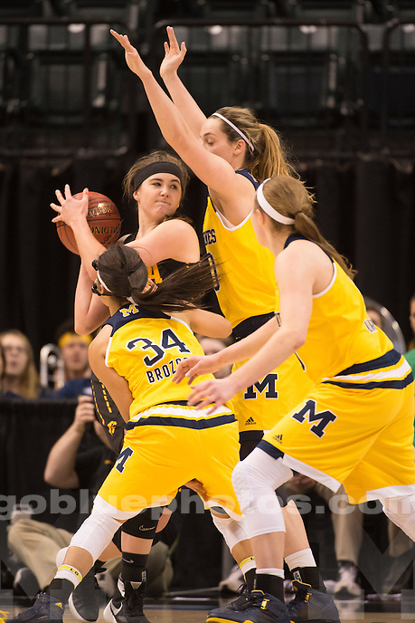 The University of Michigan women's basketball team loses to Iowa, 97-85, in the first round of the Big 10 tournament at Banker's Life Fieldhouse in Indianapolis, IN, on March 3, 2016.