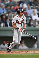 First baseman Kurt Hoekstra (13) of the Rome Braves bats in a game against the Greenville Drive on Thursday, April 12, 2018, at Fluor Field at the West End in Greenville, South Carolina. Greenville won, 14-4. (Tom Priddy/Four Seam Images)
