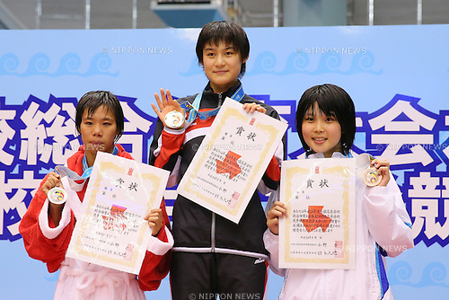 L-R) Anna Konishi (Toyokawa), Rena Nishiwaki (Tsuruokaminami), Rika Yuhara (Shibuyamakuhari), <br /> August 18, 2014 - Swimming :<br /> 2014 All-Japan Inter High School Championships,<br /> Women's 100m Backstroke Victory Ceremony <br /> at Chiba International General Swimming Center, Chiba, Japan. <br /> (Photo by Yohei Osada/AFLO SPORT)