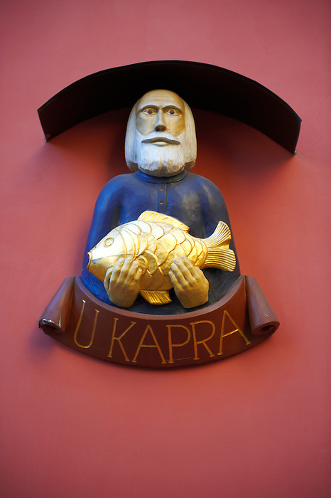 Traditional Carp fish shop sign - Prague - Czech Republic