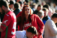 Swansea City fans in action during the Sky Bet Championship match between Swansea City and Cardiff City at the Liberty Stadium in Swansea, Wales, UK. Sunday 27 October 2019
