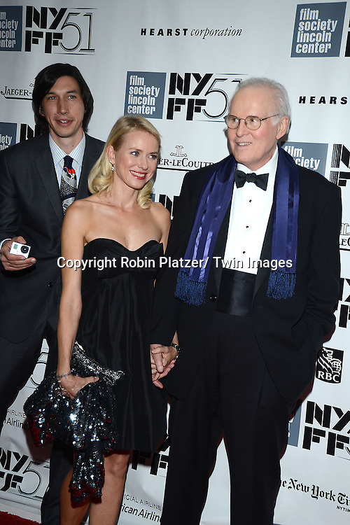 Adam Driver,Naomi Watts and Charles Grodin attend the 2013 New York Film Festival Opening Night Premiere of &quot;Captain Phillips&quot; on September 27, 2013 at <br /> Alice Tully Hall in New York City. They were filming a movie called the Noah Baumbach Project.