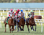 HALLANDALE BEACH, FL - JAN 13:Shining Copper #5 (Jose Ortiz on board), Heart to Heart #3 (Irad Ortiz Jr on board)and On Go All Go #2 Chris Landeros on board) vie for the early lead in the $200,000 Fort Lauderdale Stakes for trainers Michael J. Maker, Brian A. Lynch and Charles L. Dickey, respectively, at Gulfstream Park on January 13, 2018 in Hallandale Beach, Florida. (Photo by Bob Aaron/Eclipse Sportswire/Getty Images)