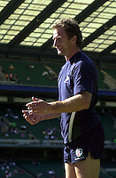 20040904 London Irish v Harlequins. Zurich Premiership..Mike Catt, collecting the ball from the crowd, as the Exiles go through the pre game training routine, 25/08/2000.Photo  Peter Spurrier.email images@intersport-images Mob +447973819551.