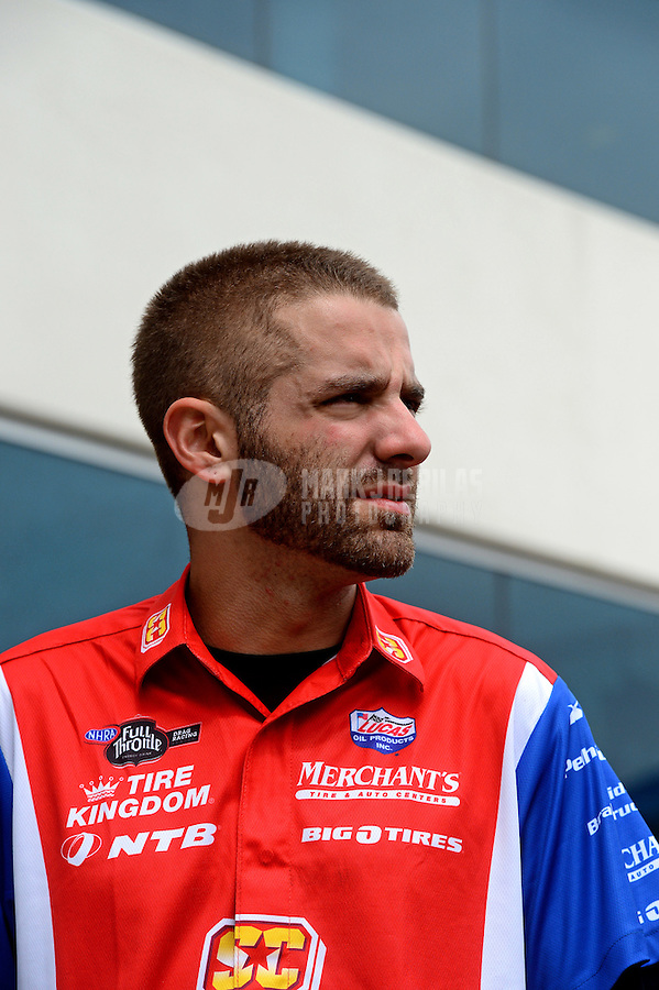Apr. 15, 2012; Concord, NC, USA: NHRA top fuel dragster driver Dom Lagana during eliminations for the Four Wide Nationals at zMax Dragway. Mandatory Credit: Mark J. Rebilas-