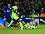 Leicester's Riyad Mahrez gets caught by Manchester City's Nicolas Otamendi but no foul is given<br /> <br /> Barclays Premier League- Leicester City vs Manchester City - King Power Stadium - England - 29th December 2015 - Picture - David Klein/Sportimage