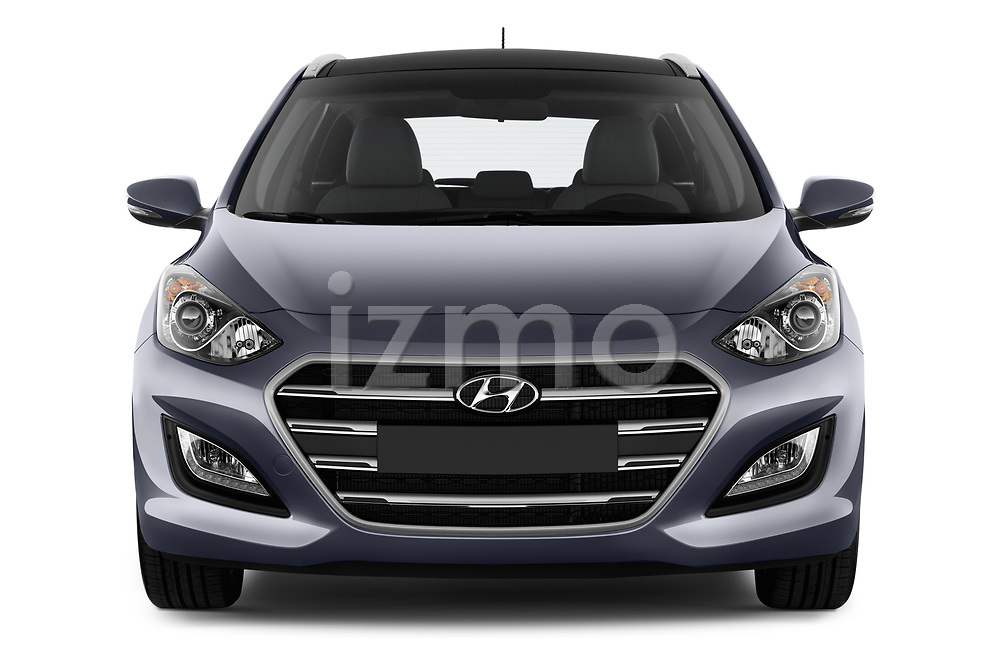 Car photography straight front view of a 2015 Hyundai I30 Go 5 Door Wagon Front View