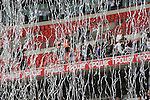 Silver ticker tape falling from stands as Swansea players are presented with the winners' trophy after the Npower Championship play-off final between Reading (blue) and Swansea City at Wembley Stadium. The match was won by Swansea by 4 goals to 2 watched by a crowd of 86,581. Swansea became the first Welsh team to reach the top division of English football since they themselves played there in 1983.