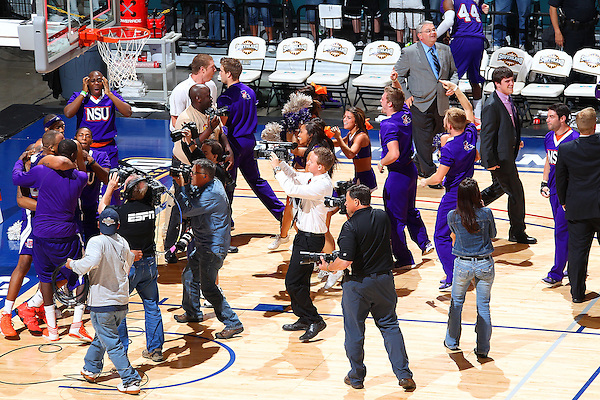 Katy, TX - MARCH 16: Southland Conference Men's Basketball Tournament  Championship game Stephen F Austin v Northwestern State University at Leonard E. Merrell Center on March 16, 2013 in Katy, Texas. SFA leads 35-34 at halftime.(©2013 Rick Yeatts)