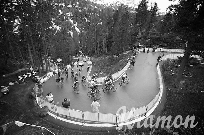 switchback 'peloton' in the final km up the Val Martello climb (2059m) towards the finish<br /> <br /> 2014 Giro d'Italia <br /> stage 16: Ponte di Legno - Val Martello (139km)