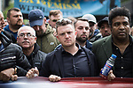 "© Joel Goodman - 07973 332324 . 11/06/2017 . Manchester , UK . TOMMY ROBINSON . Demonstration against Islamic hate , organised by former EDL leader Tommy Robinson's "" UK Against Hate "" and opposed by a counter demonstration of anti-fascist groups . UK Against Hate say their silent march from Piccadilly Train Station to a rally in Piccadilly Gardens in central Manchester is in response to a terrorist attack at an Ariana Grande concert in Manchester , and is on the anniversary of the gun massacre at the Pulse nightclub in Orlando . Photo credit : Joel Goodman"