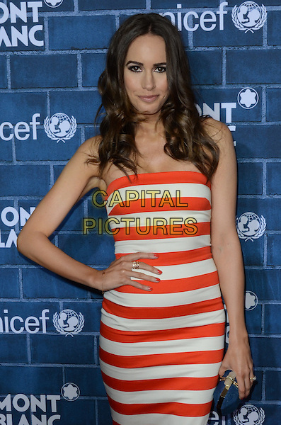 Louise Roe.Montblanc Hosts Pre-Oscar Charity Brunch Benefiting UNICEF held at Hotel Bel-Air, Los Angeles, California, USA..February 23rd, 2013.half length white red striped stripes dress strapless hand on hip.CAP/ADM/TW.©Tonya Wise/AdMedia/Capital Pictures