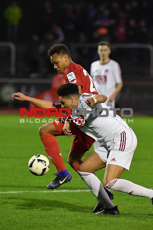23.03.2017, BELKAWarena, Bergisch Gladbach , GER, FSP, Testspiel, SV Bergisch Gladbach 09 (MRL) vs. 1. FC K&ouml;ln ( 1.FBL) <br /> <br /> im Bild / picture shows: <br /> li Nikolas Nartey ( Koeln #20) im Zweikampf gegen Mohamed Redjeb (Bergisch Gladbach #4),<br /> <br /> <br /> Foto &copy; nordphoto / Meuter