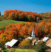 Tom Mackie, LANDSCAPES, photos, View over East Corinth in Autumn, Vermont, USA, GBTM955758-6,#L#