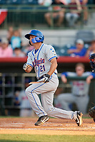 St. Lucie Mets center fielder Jacob Zanon (21) follows through on a swing during a game against the Florida Fire Frogs on April 19, 2018 at Osceola County Stadium in Kissimmee, Florida.  St. Lucie defeated Florida 3-2.  (Mike Janes/Four Seam Images)