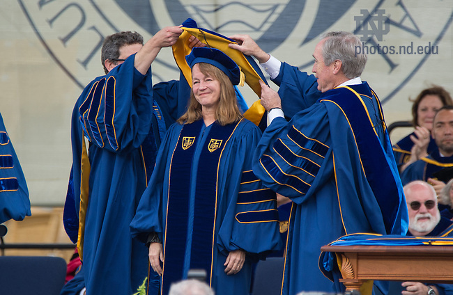 May 21, 2017; Alice Gast receives an honorary doctor of engineering degree at the 2017 Commencement ceremony.   (Photo by Barbara Johnston/University of Notre Dame)
