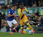 Phil Jagielka of Everton tussles with Christian Benteke of Crystal Palace during the Premier League match at Goodison Park Stadium, Liverpool. Picture date: September 30th, 2016. Pic Simon Bellis/Sportimage