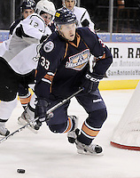 Oklahoma City Barons' Colten Teubert looks to pass during the second period of an AHL hockey game against the San Antonio Rampage, Sunday, Nov. 4, 2012, in San Antonio. (Darren Abate/pressphotointl.com)