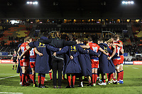 The Worcester Warriors team huddle together after the match. Aviva Premiership match, between Saracens and Worcester Warriors on December 30, 2017 at Allianz Park in London, England. Photo by: Patrick Khachfe / JMP