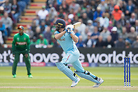 Liam Plunkett (England) flays the ball through the off side during England vs Bangladesh, ICC World Cup Cricket at Sophia Gardens Cardiff on 8th June 2019