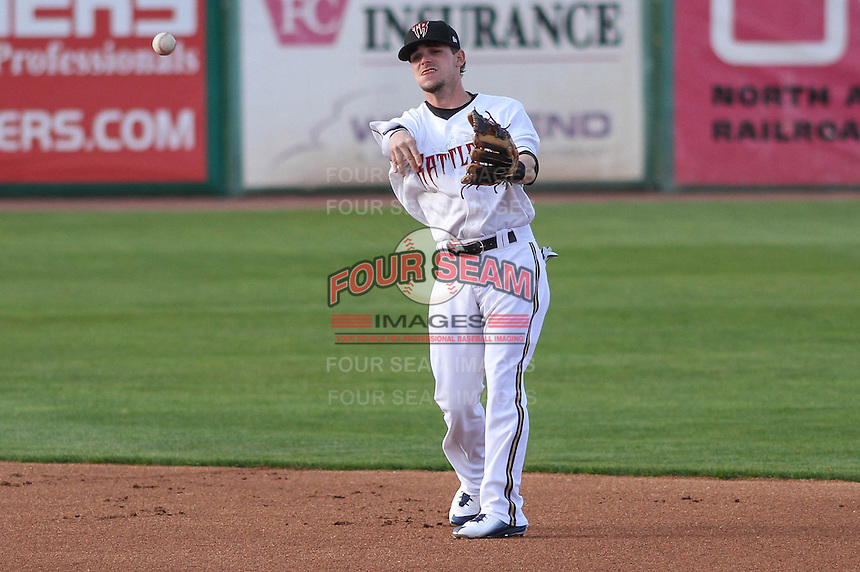 Milwaukee Brewers second baseman Scooter Gennett (20) throws to first during a rehab appearance with the Wisconsin Timber Rattlers against the Cedar Rapids Kernels on May 4th, 2015 at Fox Cities Stadium in Appleton, Wisconsin.  Cedar Rapids defeated Wisconsin 9-3.  (Brad Krause/Four Seam Images)
