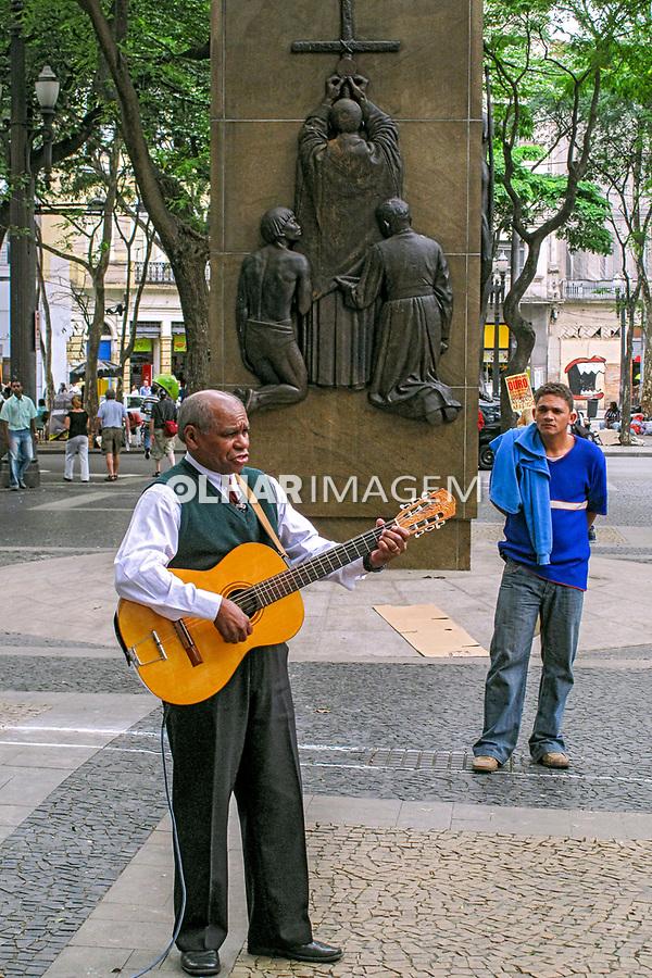 Pastor evangelico na Praça da Se, Sao Paulo. 2016. Foto de Juca Martins.