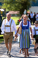 Senior couple in costume for traditional beer festival in the village of Klais in Bavaria, Germany