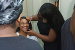 Backstage hair and makeup prep before the William H. Maxwell CTE High School Mode 17 fashion show on June 16, 2017.