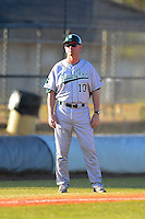 Slippery Rock head coach Jeff Messer (10) during a game against the Wayne State Warriors on March 15, 2013 at Chain of Lakes Park in Winter Haven, Florida.  (Mike Janes/Four Seam Images)