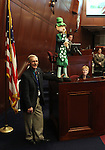 Nevada Assembly Sgt. at Arms Terry Sullivan stands near Flat Fanny Finegan during St. Patrick's Day events on the Assembly floor at the Legislature in Carson City, Nev., on Thursday, March 17, 2011..Photo by Cathleen Allison