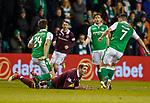 9.3.2018: Hibs v Hearts:<br /> Kyle Lafferty fouled by Darren McGregor