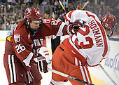 Luke Greiner (Harvard - 26), Cason Hohmann (BU - 23) - The Boston University Terriers defeated the Harvard University Crimson 3-1 in the opening round of the 2012 Beanpot on Monday, February 6, 2012, at TD Garden in Boston, Massachusetts.