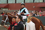 April 12, 2014: #1 Danza with jockey Joe Bravo giving thumbs up after winning the Arkansas Derby at Oaklawn Park in Hot Springs, AR. Justin Manning/ESW/CSM