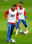 Spain's Vitolo (l) and Gerard Deulofeu during training session. March 23,2017.(ALTERPHOTOS/Acero)