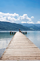 Austria, Upper Austria, Salzkammergut, near Seewalchen at Lake Attersee: bathing jetty   Oesterreich, Oberoesterreich, Salzkammergut, bei Seewalchen am Attersee: Badesteg