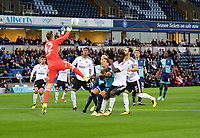 Goalkeeper Marek Rodak of Fulham punches the ball clear during the Carabao Cup match between Wycombe Wanderers and Fulham at Adams Park, High Wycombe, England on 8 August 2017. Photo by Alan  Stanford / PRiME Media Images.