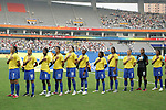 18 August 2008: Brazil starting eleven pause for their netional anthem.  (l to r): Daniela (BRA), Marta (BRA), Formiga (BRA), Cristiane (BRA), Erika (BRA), Ester (BRA), Maycon (BRA), Renata Costa (BRA), Simone (BRA), Barbara (BRA), Tania (BRA).  The women's Olympic soccer team of Brazil defeated the women's Olympic soccer team of Germany 4-1 at Shanghai Stadium in Shanghai, China in a Semifinal match in the Women's Olympic Football competition.