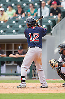 Mookie Betts (12) of the Pawtucket Red Sox at bat against the Charlotte Knights at BB&T Ballpark on August 8, 2014 in Charlotte, North Carolina.  The Red Sox defeated the Knights  11-8.  (Brian Westerholt/Four Seam Images)